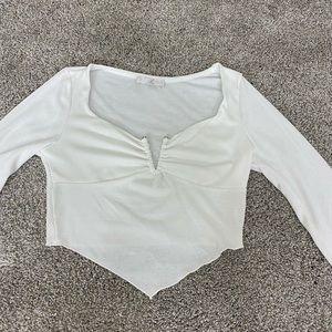 SALE white long sleeve crop top